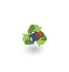 used batteries with green recycling symbol vector image