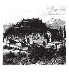 View of salzburg vintage vector