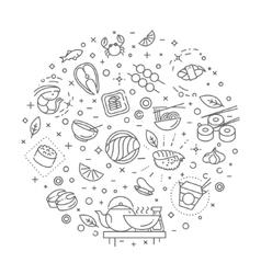 Sushi seafood outline symbols vector