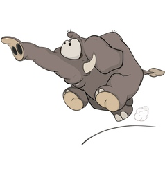 The running elephant calf cartoon vector