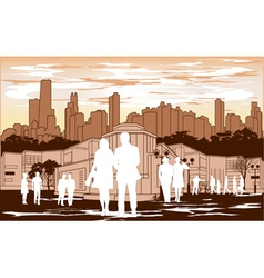 White people silhouette on red city background vector
