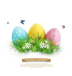 Element for design easter eggs in green grass vector