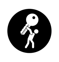 Person lifting key door isolated icon vector