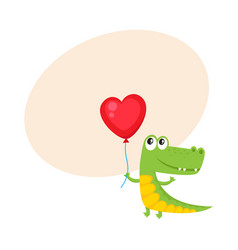Cute and funny crocodile holding red heart shaped vector