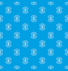 Wooden shield pattern seamless blue vector