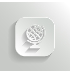 Globe icon - white app button vector