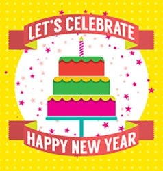 Happy new year cake vector