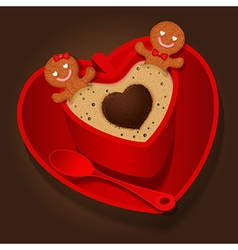 Loving couple of gingerbread in coffee cup vector