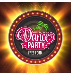 Dance party shining retro light banner vector