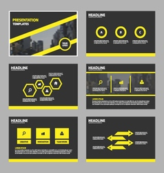 Yellow black abstract presentation templates set vector