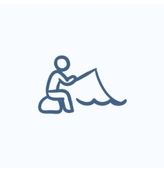 Fisherman sitting with rod sketch icon vector