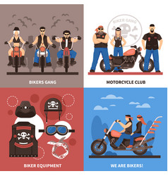 Bikers concept icons set vector