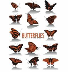 Butterflies silhouettes vector