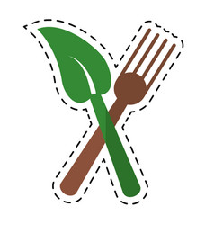 Cartoon fork leaf healthy food symbol vector