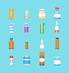 Cartoon medicine bottles for drugs color icons set vector