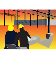 Construction workers background vector
