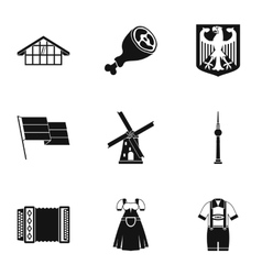 Country germany icons set simple style vector