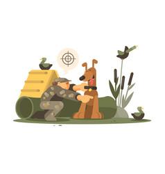 Cynologist training hunting dog vector