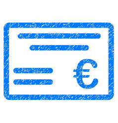 Euro cheque grunge icon vector