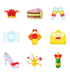 females party icons set cartoon style vector image