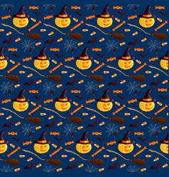 Festive seamless pattern halloween characters vector