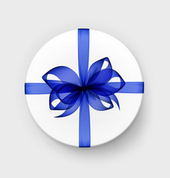 Gift box with transparent blue bow and ribbon vector