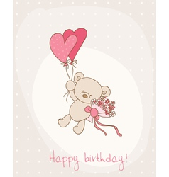Greeting birthday card with cute bear vector