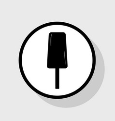 Ice cream sign flat black icon in white vector