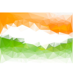 Indian flag low poly background orange green vector