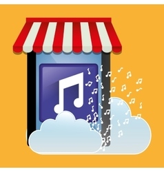 Mobile music store online cloud vector