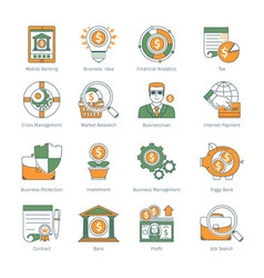 Modern Business Thin Line Icons vector image vector image