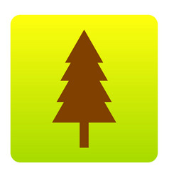 New year tree sign brown icon at green vector