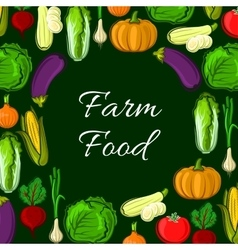 Organic farm vegetables poster vector