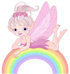 Pixie fairy on rainbow vector