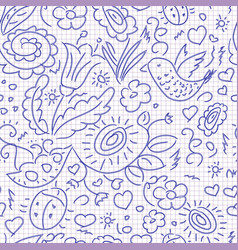Seamless pattern sketch floral bird vector