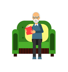 senior man sitting on the green sofa and reading a vector image
