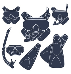 Set of with flippers mask snorkel vector