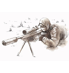 Sniper shooter - hand drawn vector
