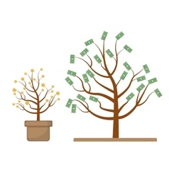Tree with money coins and dollars evolution vector