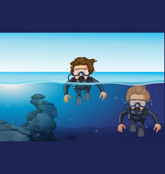 two men diving in the ocean vector image vector image