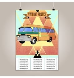 Vintage poster with high detail bus vector image vector image