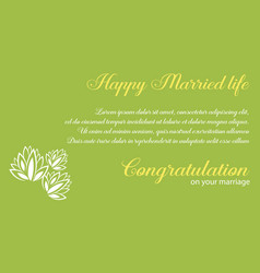 Wedding invitation with green background vector