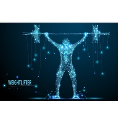 weightlifter poly blue vector image vector image