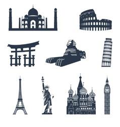 World famous landmarks black vector image vector image