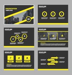 Yellow black abstract presentation templates set vector
