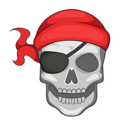 Pirate skull in bandane icon cartoon style vector