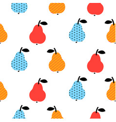 Dotted pear seamless blue and red pattern on white vector
