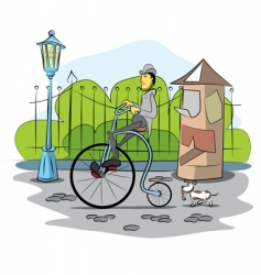 Gentleman drive a retro bicycle vector