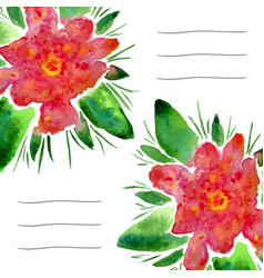 Invitation cards with watercolor blooming flowers vector