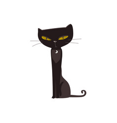 Spooky elegant black cat with big yellow eyes vector